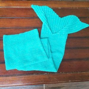 Teal Crochet Mermaid Tail Blanket